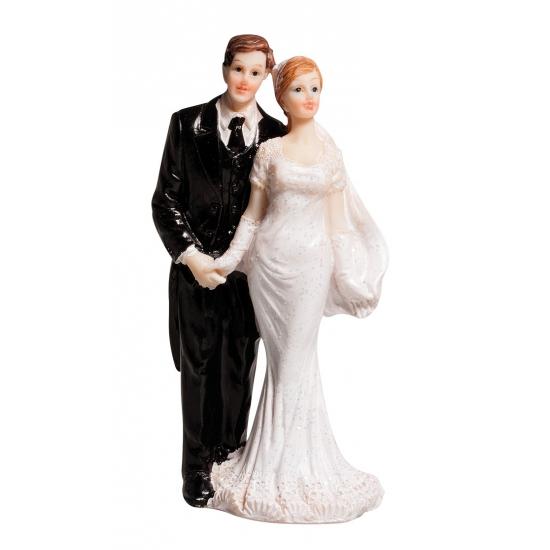Klassiek bruidspaar taart decoratie 10 cm