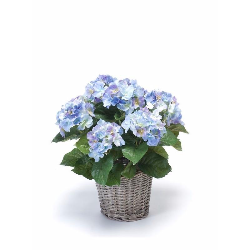 Kunstplant blauwe Hortensia in mand 45 cm