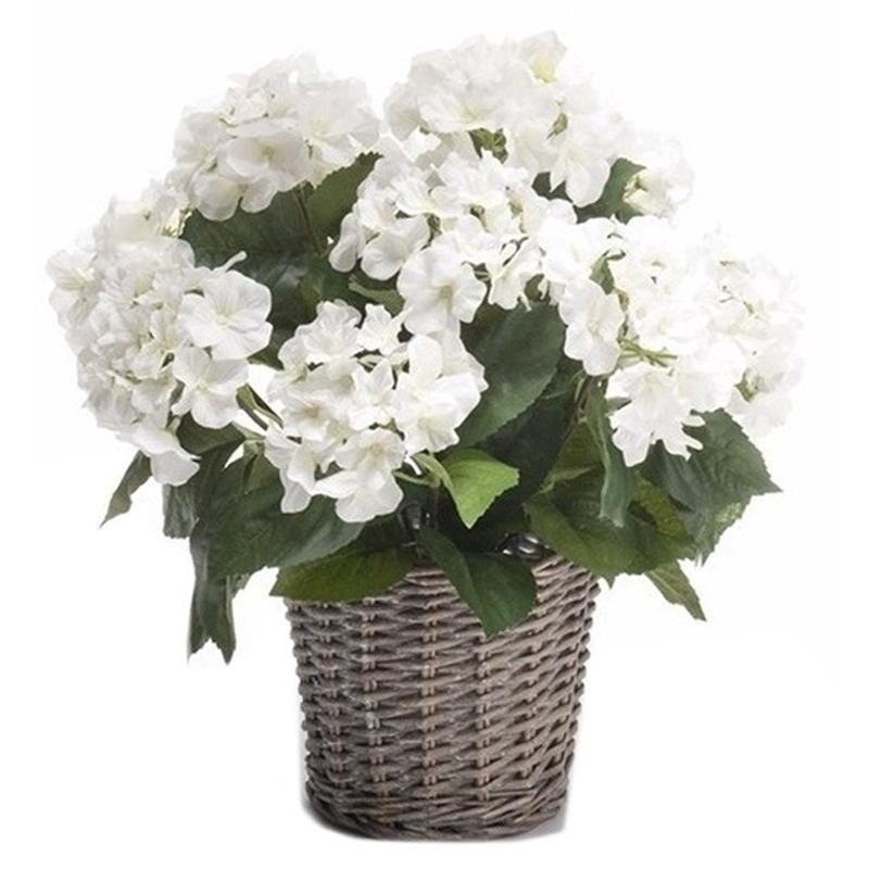 Kunstplant witte Hortensia in mand 45 cm