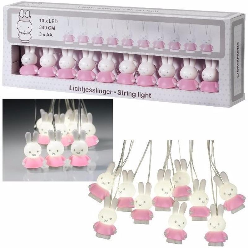 LED verlichting Nijntje lichtsnoer roze 300 cm voor babykamer