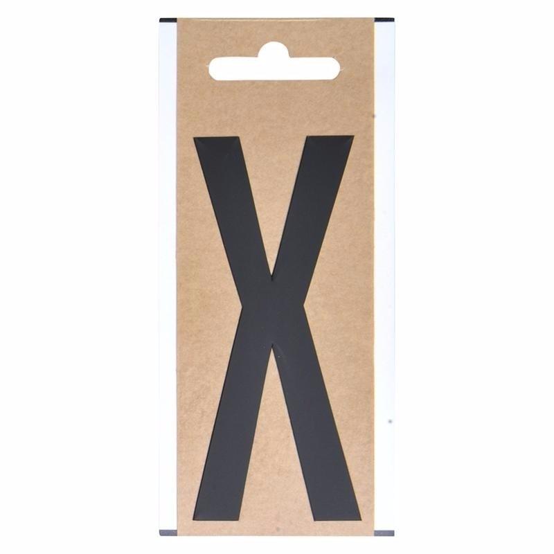 Letter sticker X zwart 10 cm