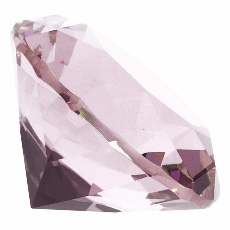 Lichtroze nep diamant 5 cm van glas