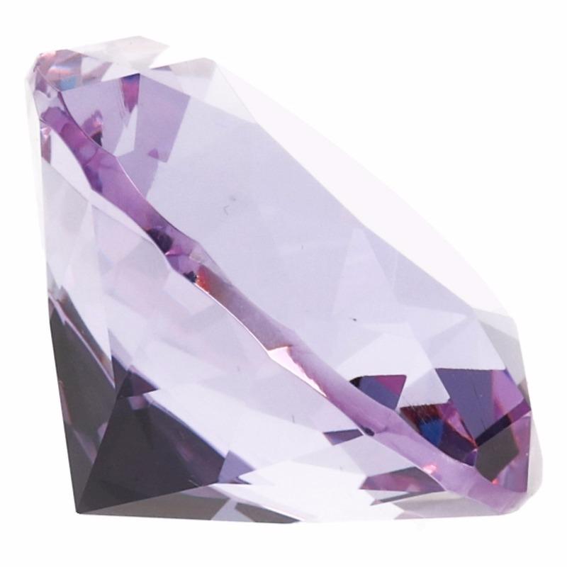 Lila paarse nep diamant 4 cm van glas