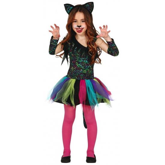 Luxe gekleurd luipaard carnaval-halloween jurkje voor meisjes
