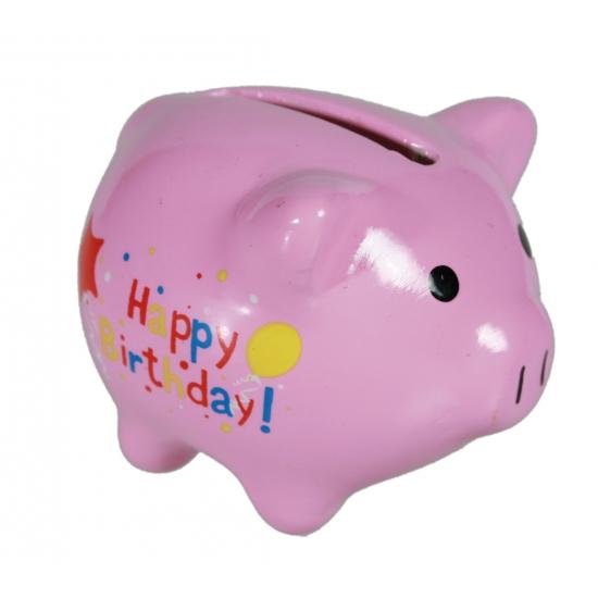 Mini spaarvarken Happy Birthday 4,5 x 4 cm