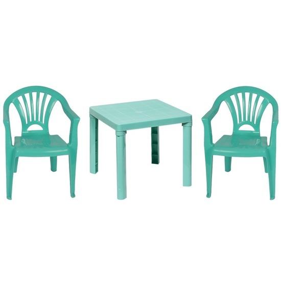 Mintgroene kindermeubels tafel met 2 stoelen