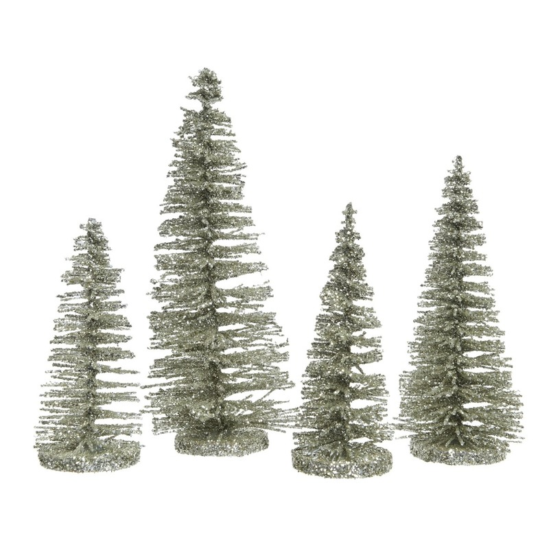 Mintgroene kleine kunst kerstboom glitter 15 cm 4 stuks