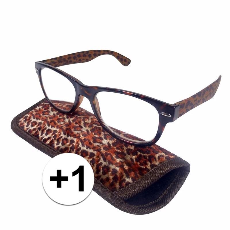 Modieuze leesbril 1 in panterprint