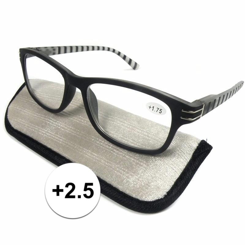 Modieuze leesbril 2.5 zwart wit gestreept