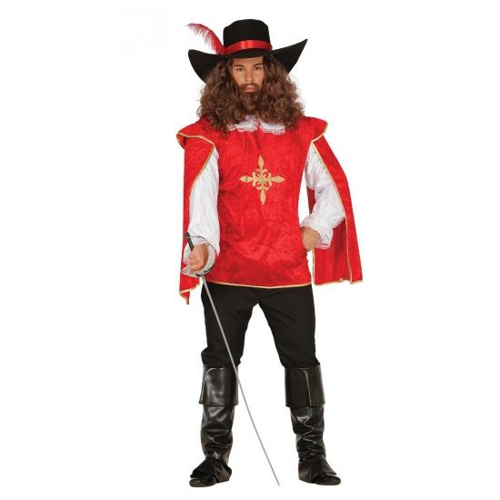 Musketiers kostuums heren. dit musketiers kostuum bestaat uit een rood shirt met gouden details en een zwarte ...