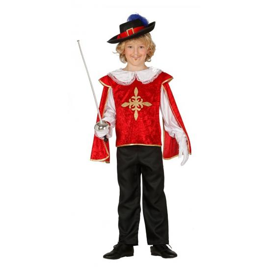 Musketiers kostuums jongens. dit musketiers kostuum bestaat uit een rood shirt met gouden details en een ...