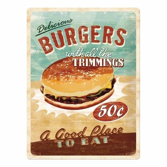 Muurplaat van metaal met hamburger