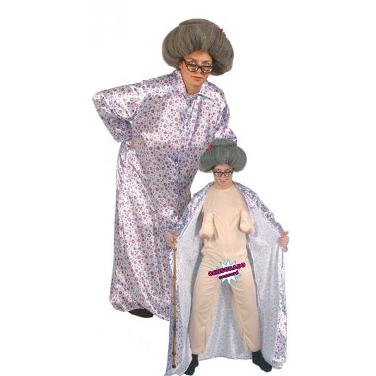 Naakte oma kostuum. dit grappige oma kostuum bestaat uit een huidskleurige jumpsuit met hangborsten en een ...