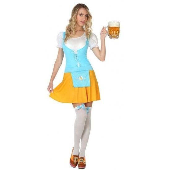 Oktoberfest - Gele/blauwe Tiroler dirndl verkleed kostuum/sexy jurk voor dames