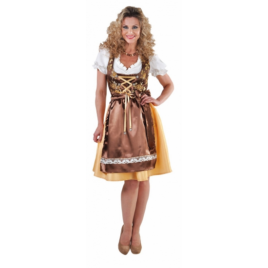 Oktoberfest - Luxe gouden dirndl met edelweiss knopen