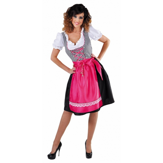 Oktoberfest Luxe zwarte dirndl met roze schort