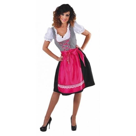 Oktoberfest Zwarte Dirndl jurk met roze schort