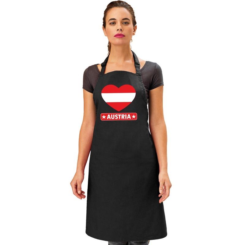 Oostenrijk hart vlag barbecueschort/ keukenschort zwart