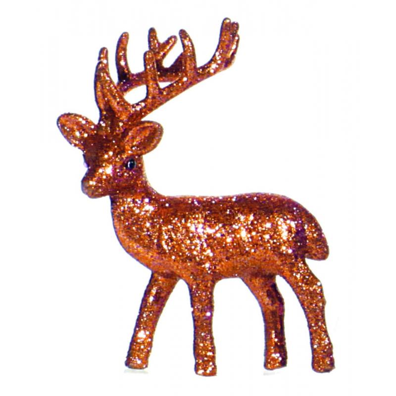 Oranje deco rendier met glitters 10 cm
