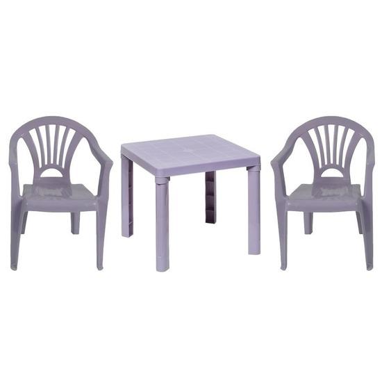 Paarse kindermeubels tafel met 2 stoelen