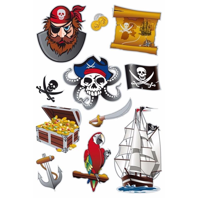Piraten thema folie stickers 1 vel