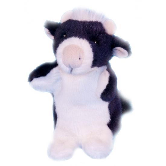 Pluche koe handpop 28 cm