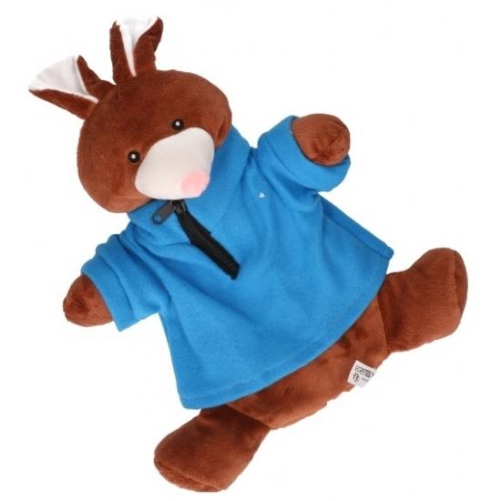 Pluche kruik bruin konijn met trui