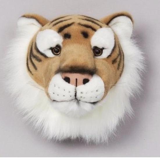 Pluche tijgerkop voor aan de muur