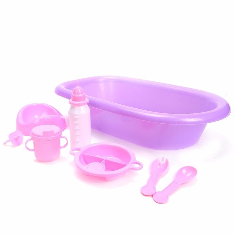 Poppen speelgoed badset 8 delig paars roze
