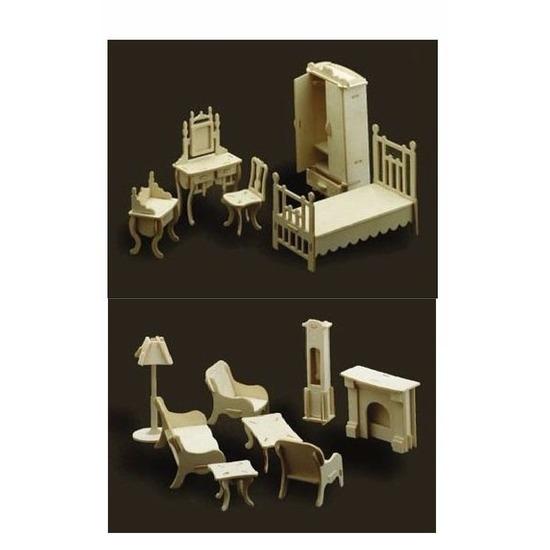 Poppenhuis meubels slaapkamer en woonkamer