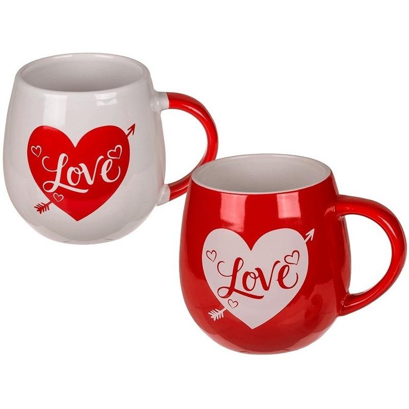 Rode beker met wit hart Love