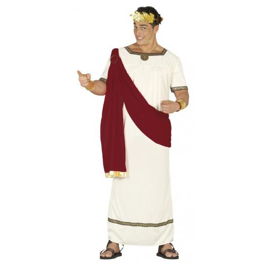 Romeinse keizer kostuum voor heren. kostuum bestaande uit een witte tuniek met rode toga. het kostuum is one ...