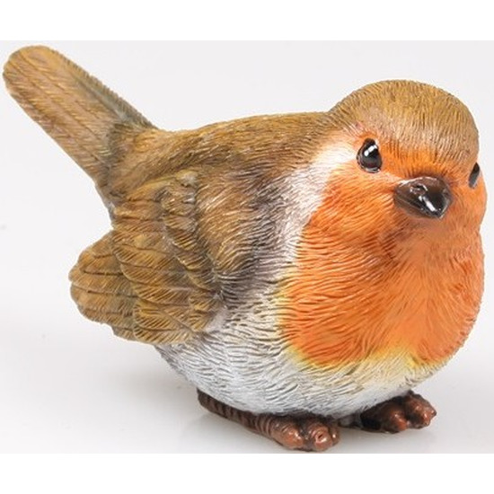 Roodborstje vogel beeldje woondecoratie 11,5 x 5 x 6 cm