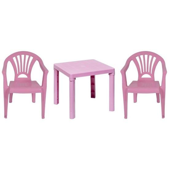 Roze kindermeubels tafel met 2 stoelen