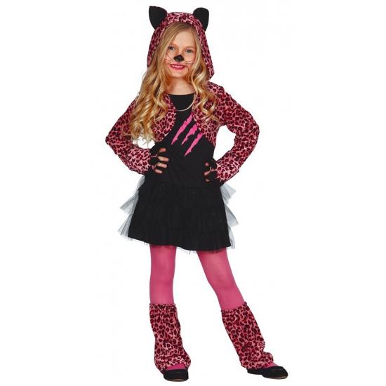 Roze luipaard carnaval-halloween jurkje voor meisjes