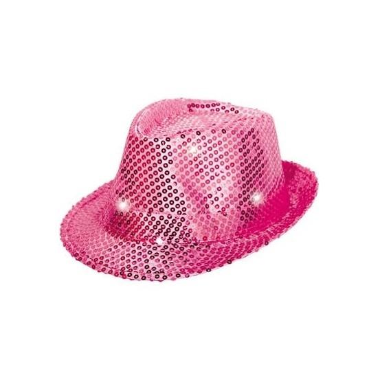 Roze pailletten hoedje met LED licht
