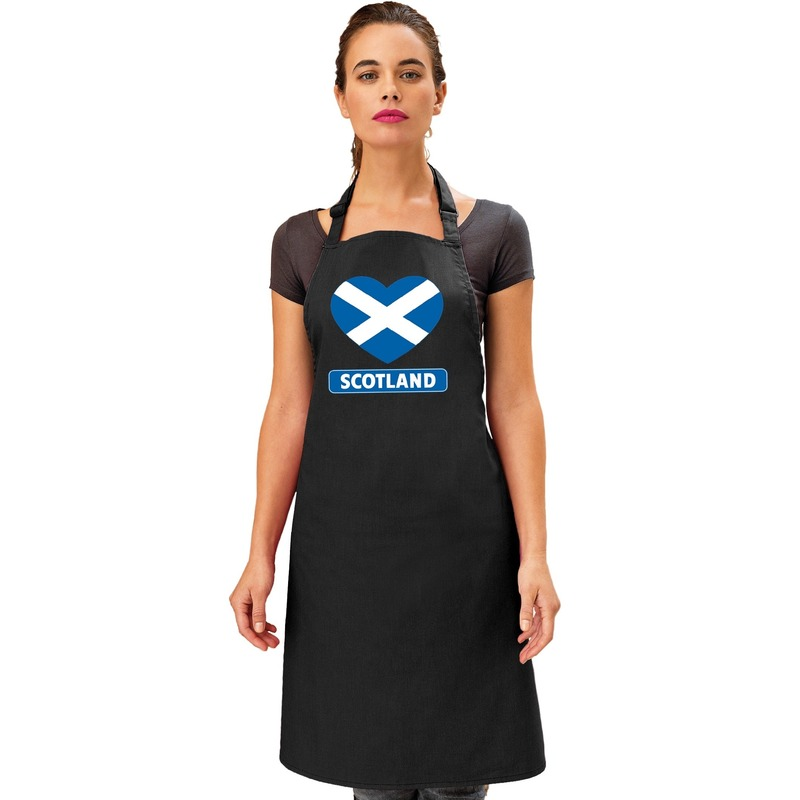 Schotland hart vlag barbecueschort/ keukenschort zwart