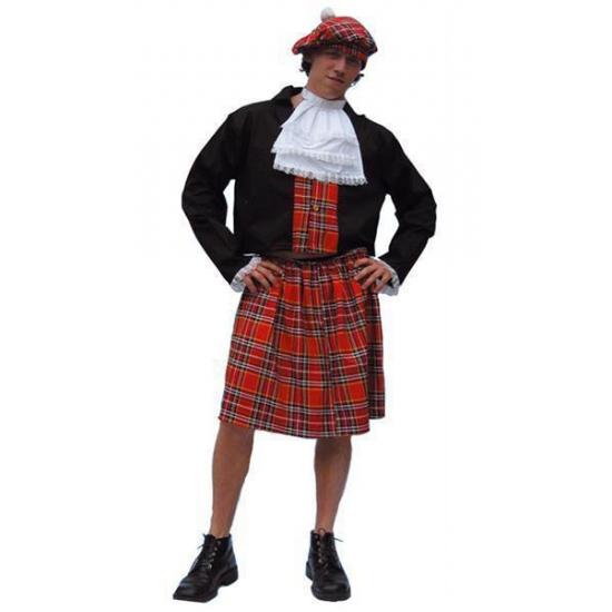 Schotse kilt kostuum heren. dit schotse kostuum bestaat uit de kilt, het vestje, de witte bef en de muts. ...