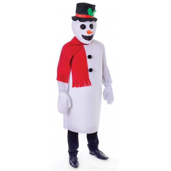 Sneeuw man kostuum. een grappig sneeuwpop kostuum bestaande uit: het hoofd met aangehechte hoed, lang shirt, ...