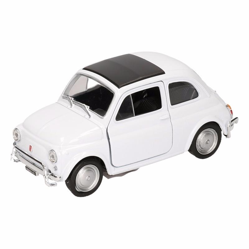 Speelgoed witte Fiat 500 classic auto 10,5 cm