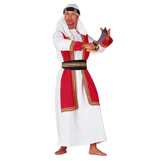 Sultan kostuum voor heren bestaande uit een lange witte kaftan met een hes van rood met gouden opdruk en ...