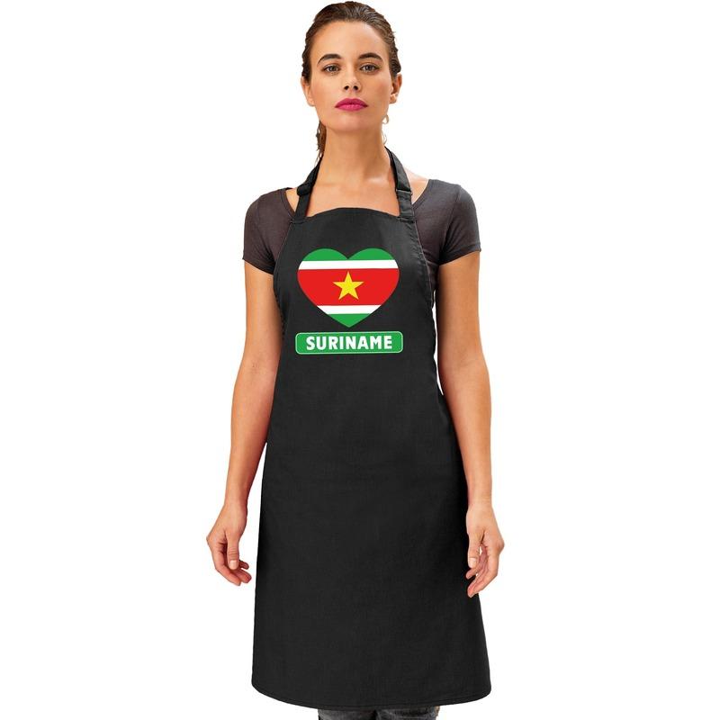 Suriname hart vlag barbecueschort/ keukenschort zwart