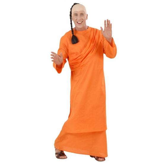 Tibetaanse monnik of hare krishna kostuum bestaat uit een lange oranje jurk met schouder drapering. de pruik ...