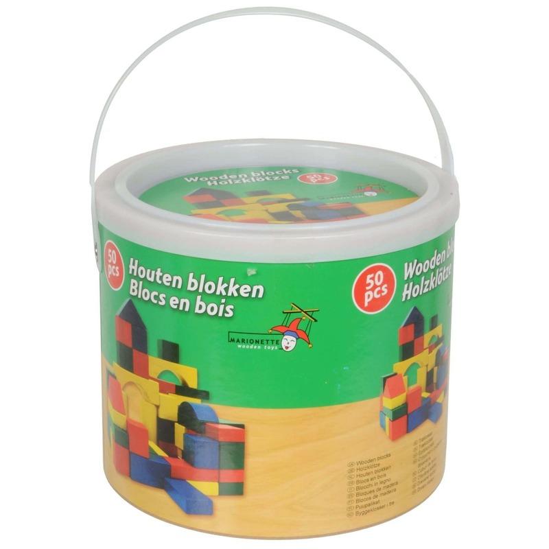 Ton met 50 speelgoed blokken