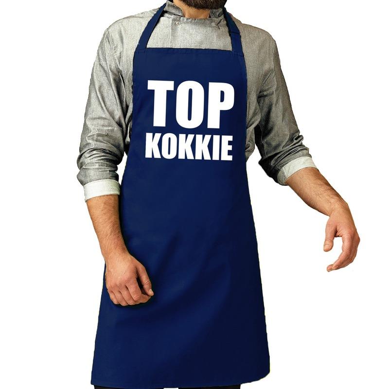 Top kokkie barbeque schort - keukenschort kobalt voor heren