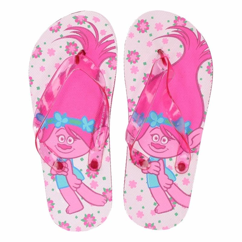 Trolls teenslippers wit roze voor meisjes