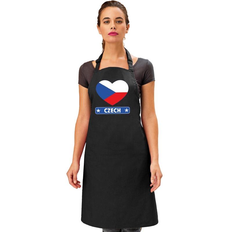 Tsjechie hart vlag barbecueschort/ keukenschort zwart