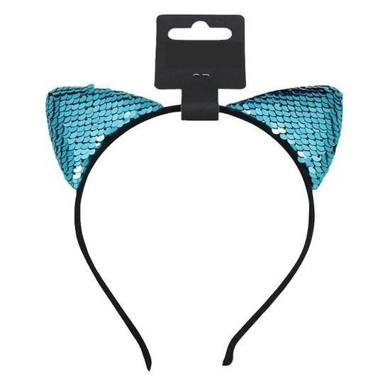 Turquoise blauwe katten-poezen oren verkleed diadeem voor meiden