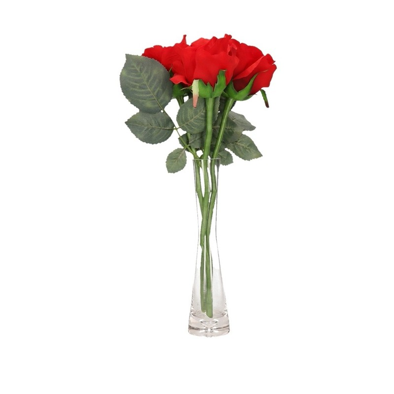 Valentijnscadeau 3 rode rozen in vaas