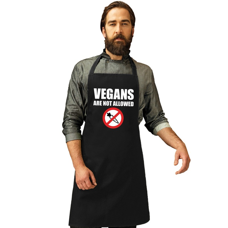 Vegans are not allowed barbecueschort/ keukenschort zwart heren